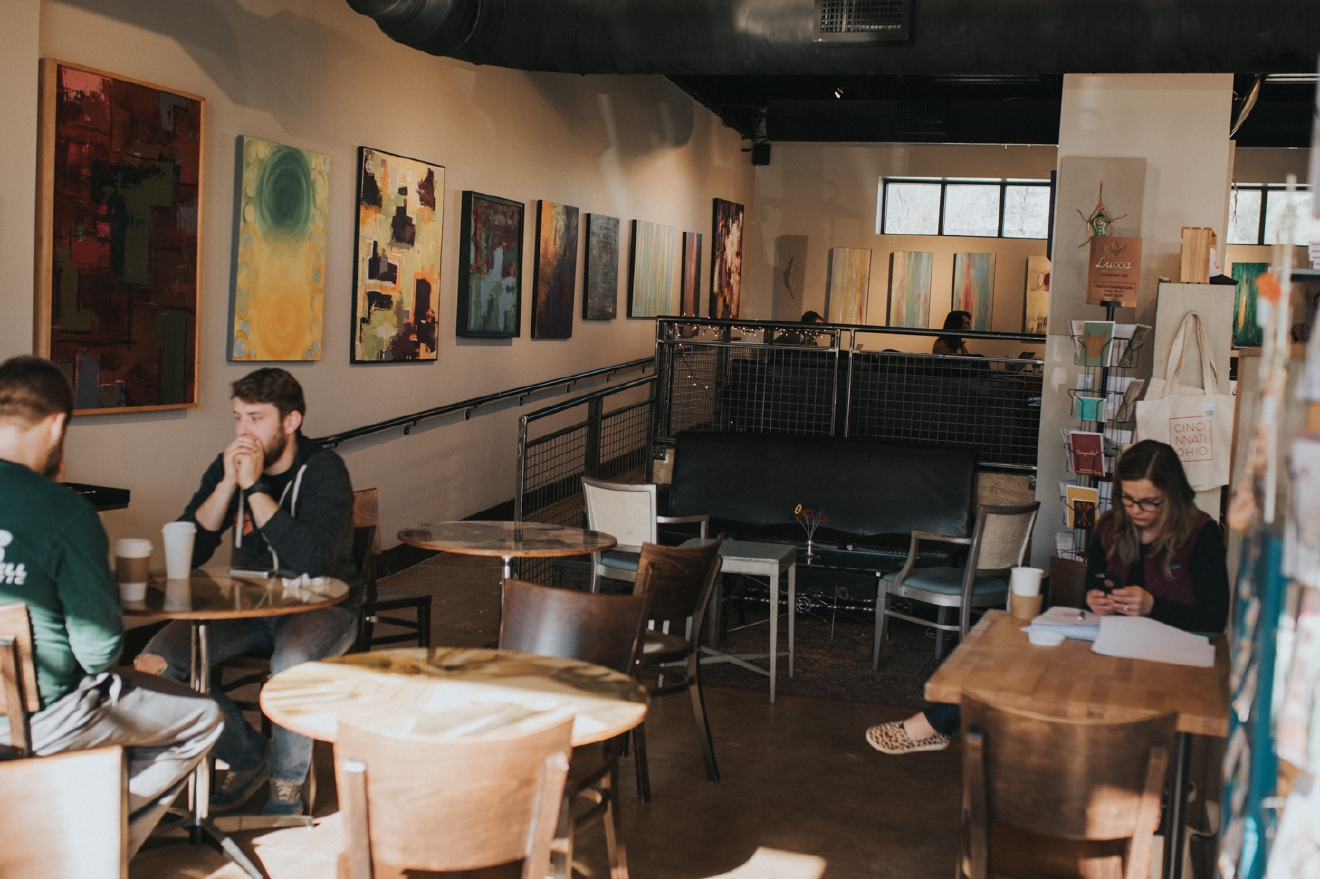 Justin believes that the combination of art gallery and coffee shop make them different. They appreciate all of their customers and will do what they can to make sure you have the best experience possible. / Image: Brianna Long // Published: 3.17.17