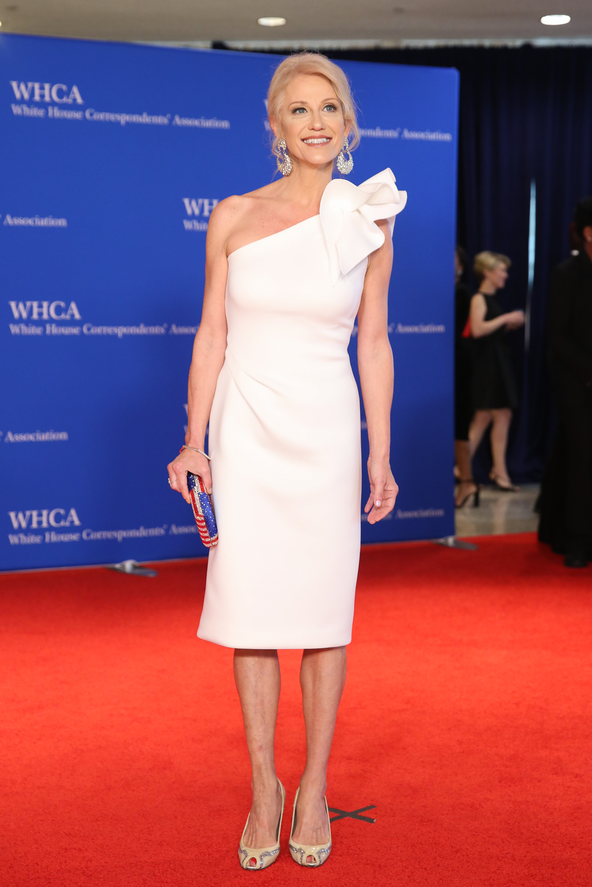 After the red carpet ended, several photographers were huddled backstage wondering what happened to Kellyanne Conway. She looks well-rested and put together. Could she, like Melania, have a body double?! (Kidding. Sort of.){&nbsp;}(Amanda Andrade-Rhoades/DC Refined)<p></p><p></p><p></p>