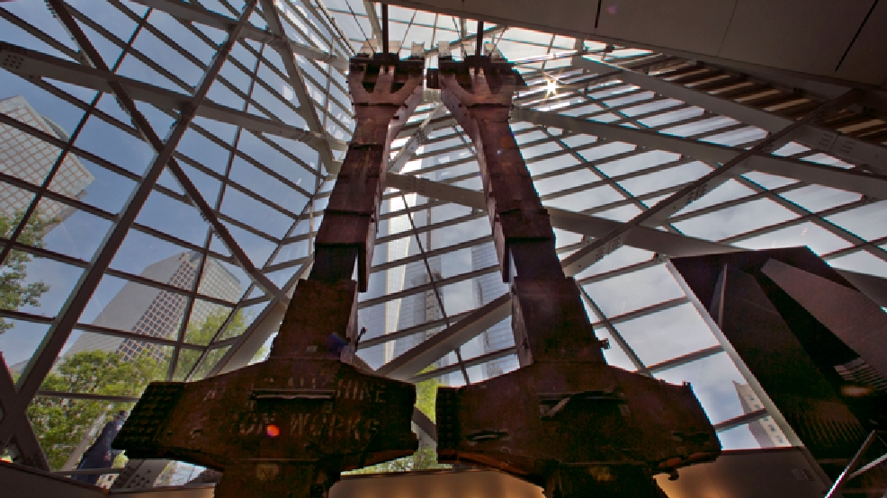 A pair of World Trade Center tridents, that once formed part of the exterior structural support of the east facade of the building, are displayed at the National Sept. 11 Memorial Museum, Wednesday, May 14, 2014, in New York. The museum is a monument to how the Sept. 11 terror attacks shaped history, from its heart-wrenching artifacts to the underground space that houses them amid the remnants of the fallen twin towers' foundations. It also reflects the complexity of crafting a public understanding of the terrorist attacks and reconceiving ground zero. (AP Photo)