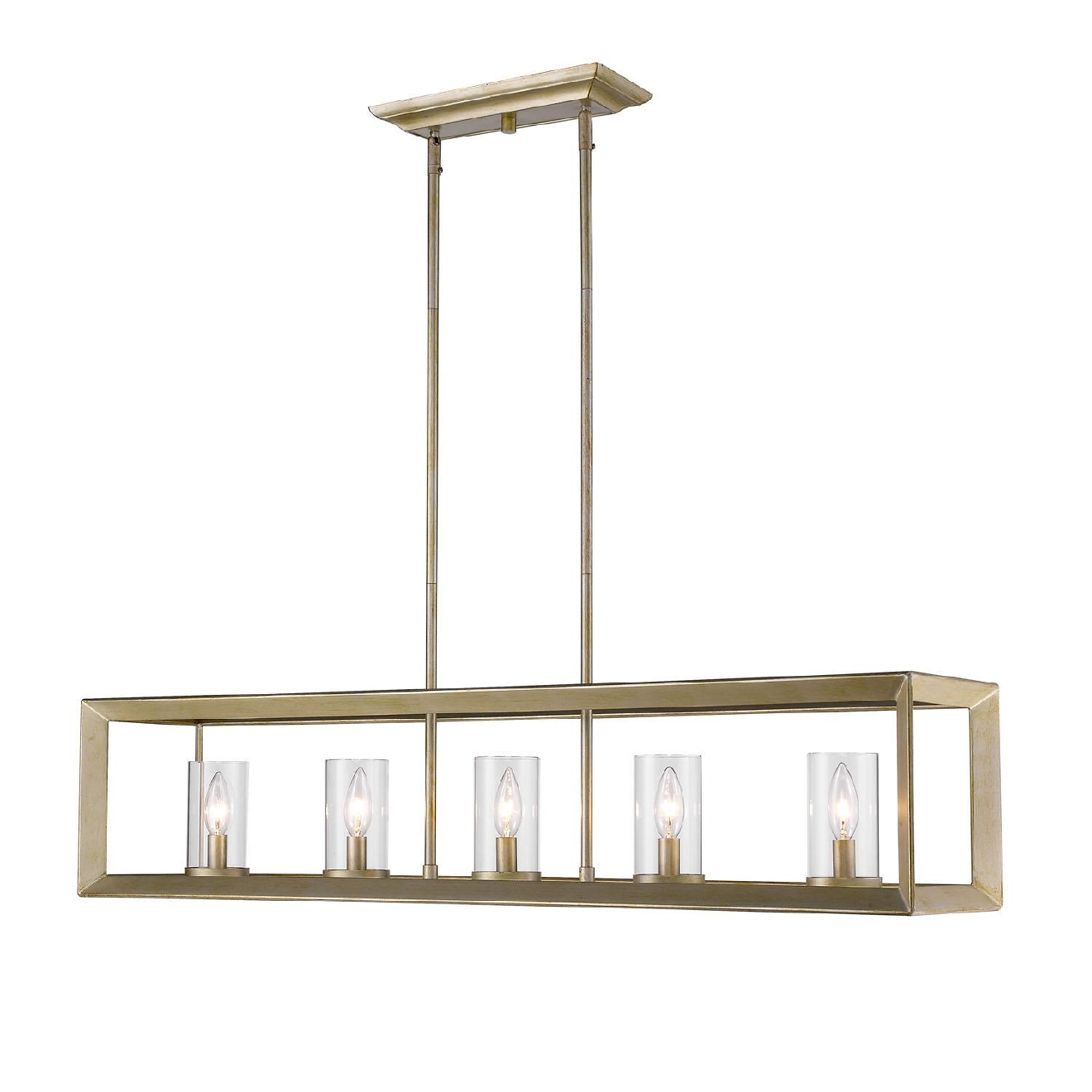 The Smyth 5 Light Chandelier ($345.48) has a handsome bevelled cage design with lean geometry creates a contemporary style. (Image: Wayfair)