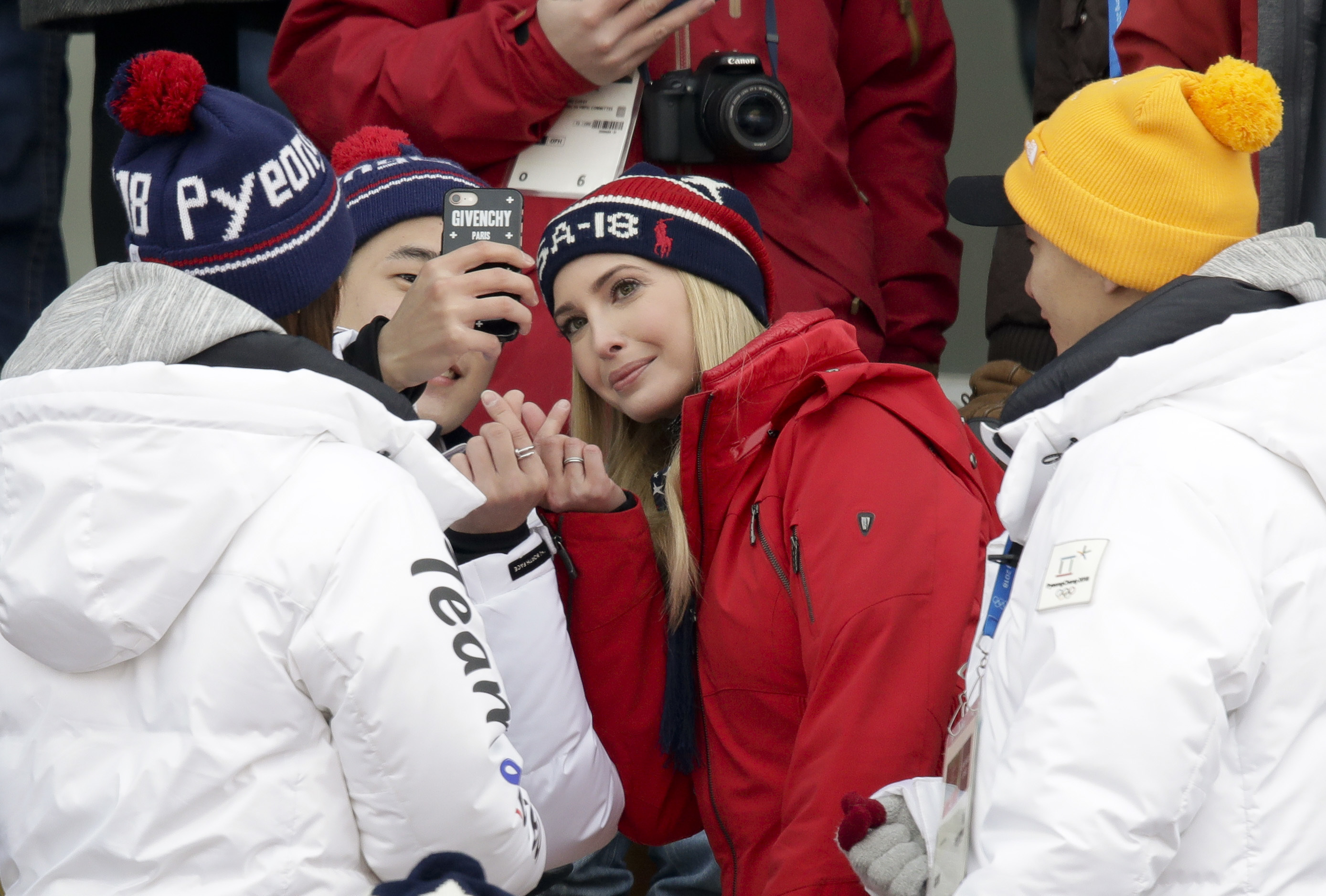 Ivanka Trump poses for a picture during the men's Big Air snowboard competition at the 2018 Winter Olympics in Pyeongchang, South Korea, Saturday, Feb. 24, 2018. (AP Photo/Dmitri Lovetsky)
