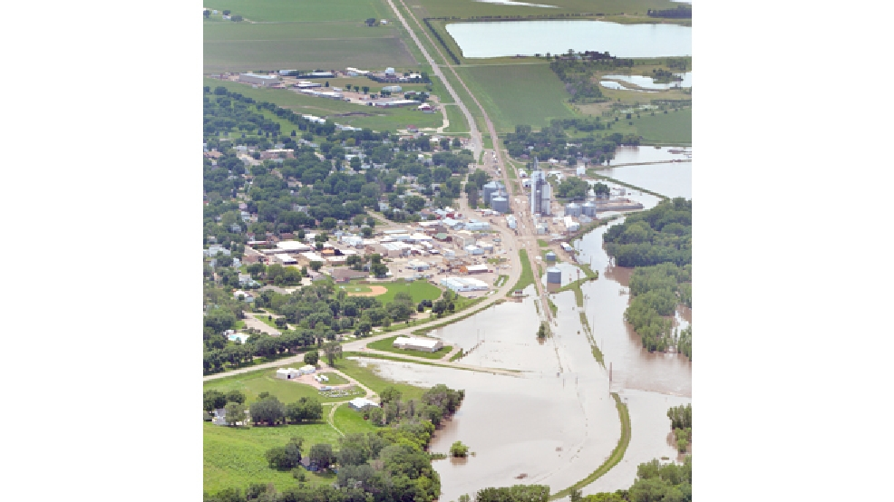 The flood-swollen Big Sioux River is shown Thursday, June 19, 2014, at Akron, Iowa. Cities along the river were working to battle record flooding from the river. (AP Photo/Sioux City Journal, Tim Hynds)