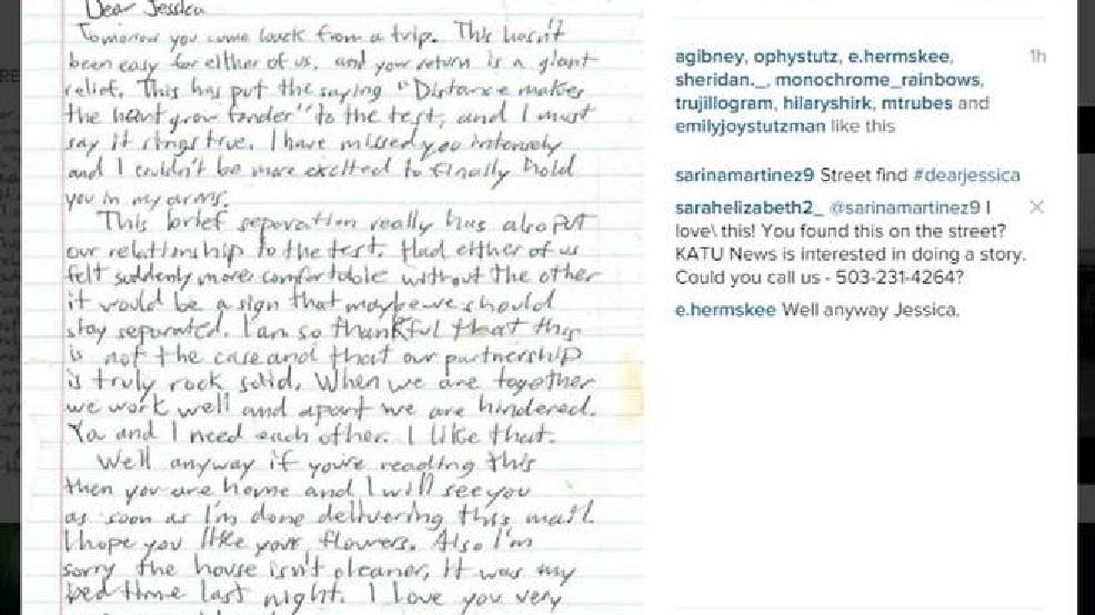 Love Letter Found On SE Portland Street Woman Wants To