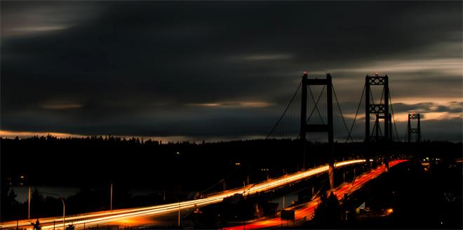 Tacoma Narrows Bridge at sunset (Photo courtesy YouNews contributor: Sunsets77)