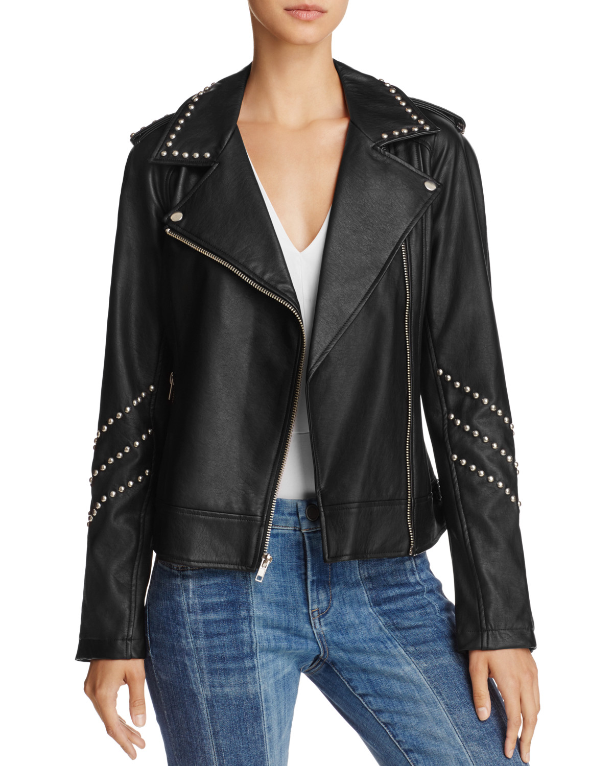 BB Dakota Jerilyn Studded Faux Leather Moto Jacket from Bloomingdale's{&amp;nbsp;} // Price: Org. $120, Sale. $90 // (Photo courtesy: Bloomingdale's)<p></p>