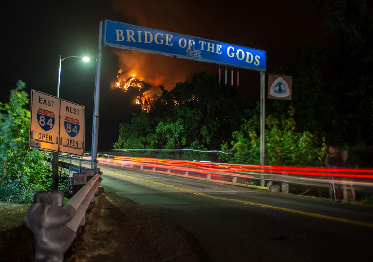 Photo of the Eagle Creek Fire taken Monday, Sept. 4 2017 at the Washington side of the Bridge of the Gods. (Photo by Tristan Fortsch)