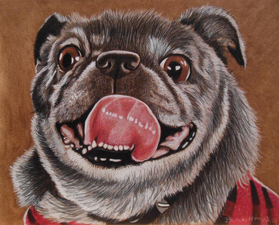 In addition to the Reds, Naughton also paints portraits of beloved family pets. This is Decker. / Image: Brent Naughton // Published: 4.3.18