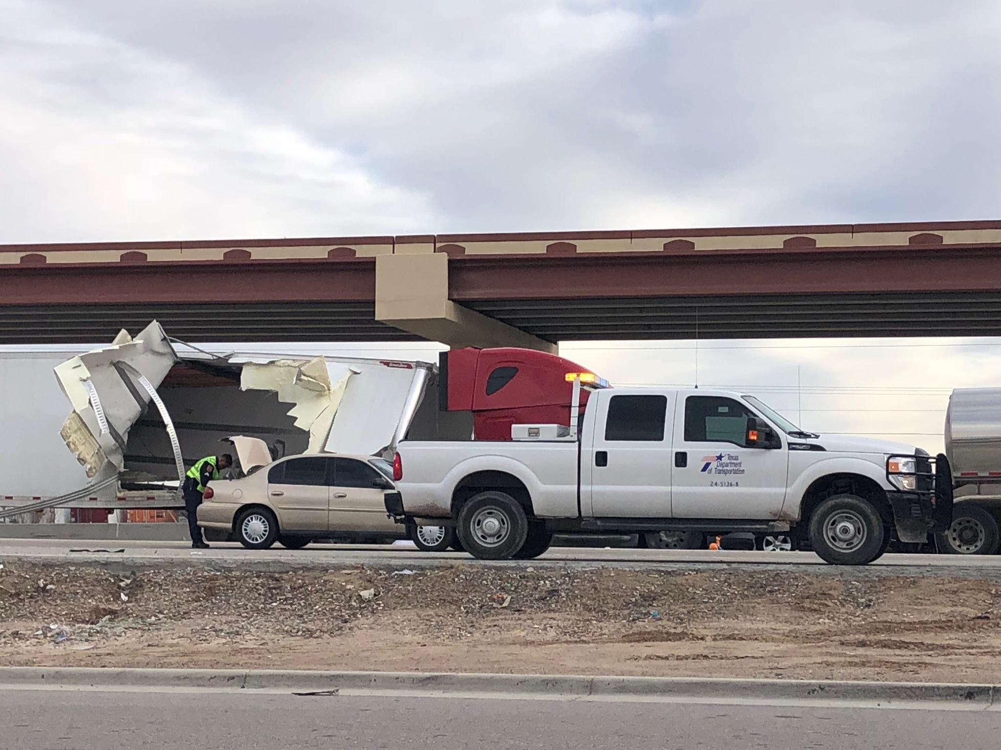 Two people were killed in a crash on I-10 east at Americas on Dec. 21, 2017. Credit: KFOX14 / CBS4