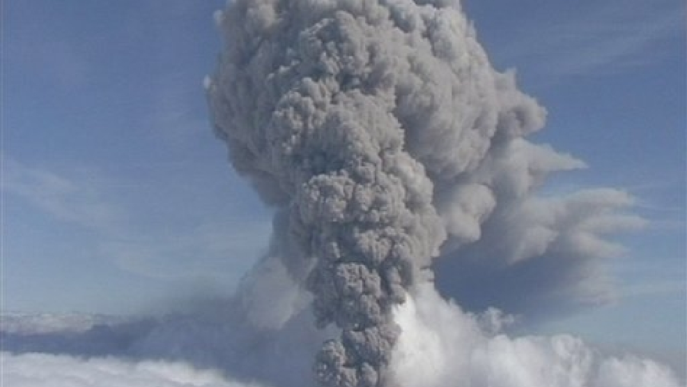 This is a Saturday May 8 2010 file image taken from video of a column of ash rising from Iceland's Eyjafjallajokul volcano. It was reported Tueday Aug. 19, 2014 that thousands of small intense earthquakes are rocking Iceland amid concerns that one of the country's volcanoes may be close to erupting. Iceland has raised its aviation alert level for the risk of a possible volcanic eruption to orange _ the second-most severe level. The alert is worrisome because of the chaos that followed the April 2010 eruption of Eyjafjallajokul, when more than 100,000 flights were cancelled because volcanic ash floating in the atmosphere is considered an aviation safety hazard. (AP Photo/ APTN)