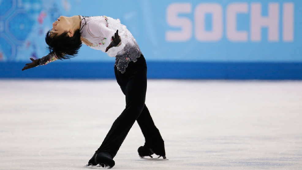 Yuzuru Hanyu of Japan competes in the men's free skate figure skating final at the Iceberg Skating Palace during the 2014 Winter Olympics, Friday, Feb. 14, 2014, in Sochi, Russia. (AP Photo/Bernat Armangue)