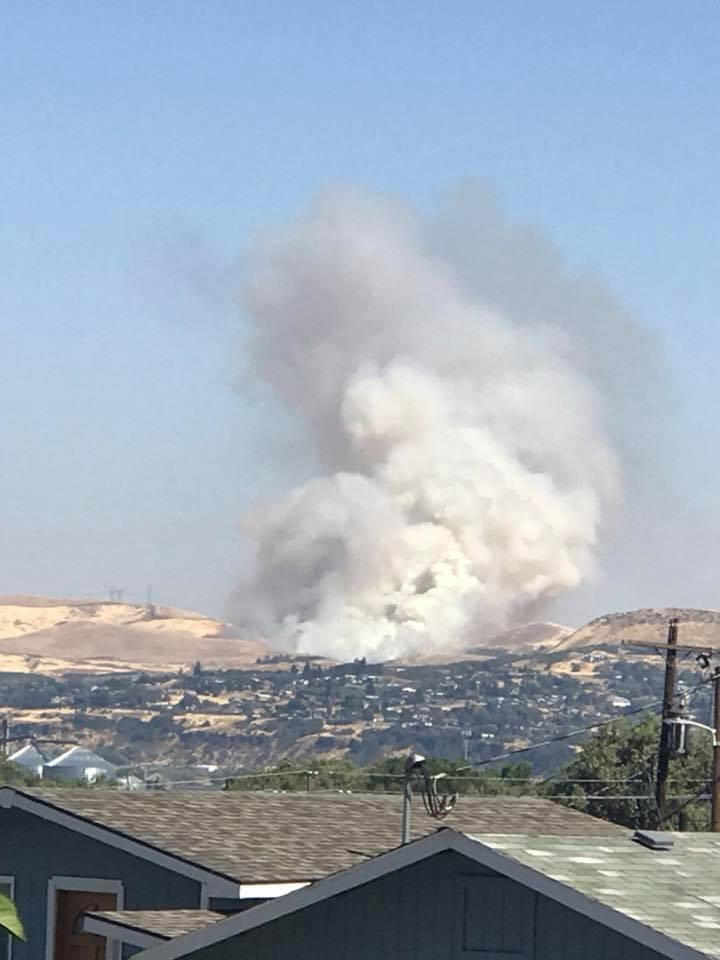 Fire burning near The Dalles - Photo from Kim Warner