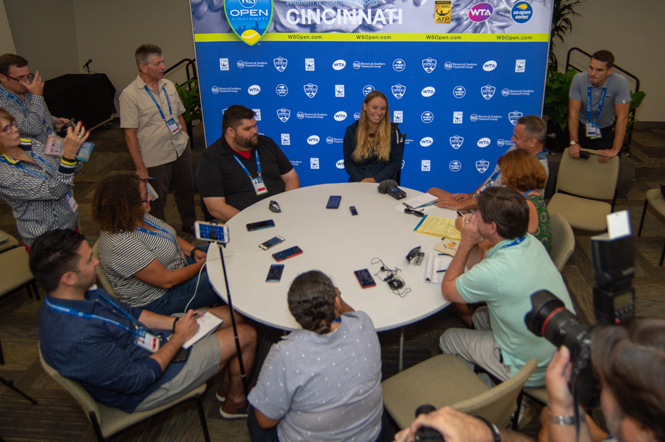 Caroline Wozniacki talking to the press during media day on Monday, August 13.{ }/ Image: Chris Jenco // Published: 8.14.18