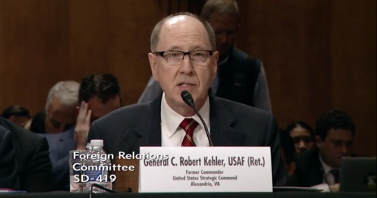 The former Commander of the United States Strategic Command, Gen. General C. Robert Kehler, USAF (Ret.). Photo: Senate Foreign Relations Committee