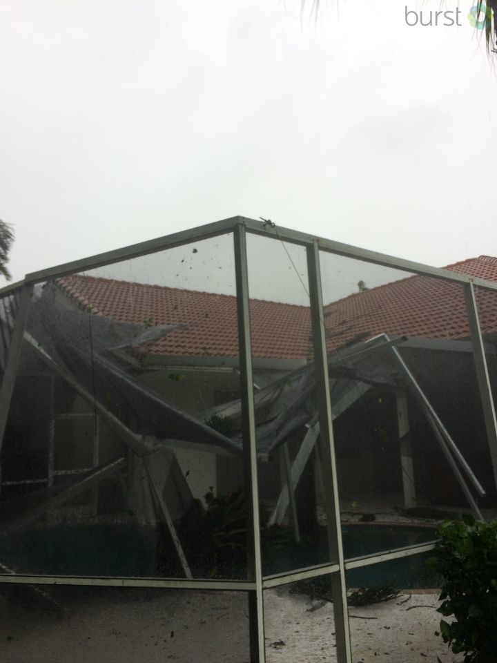 Collapsed pool enclosure./ Photo Credit: CBS12 Viewer