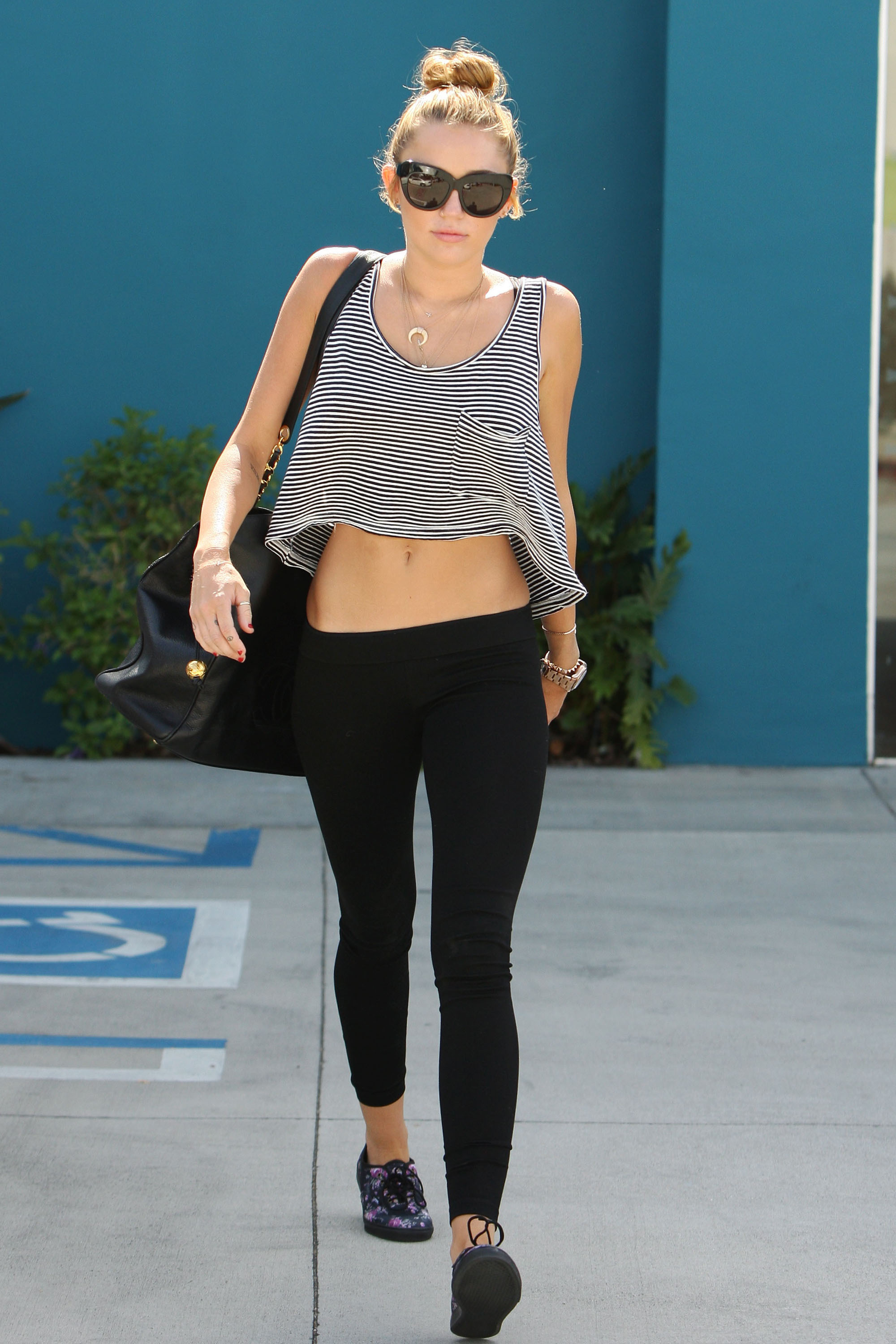 Miley Cyrus seen leaving the Winsor Pilates class in West Hollywood Los Angeles, California - 10.07.12  Featuring: Miley Cyrus When: 10 Jul 2012 Credit: WENN