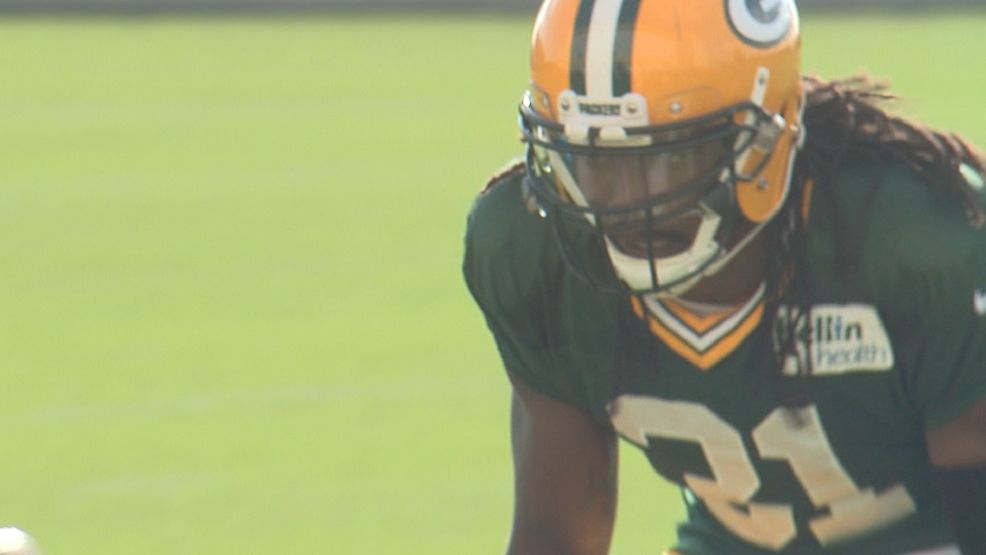 Davon House participates in a drill during the Packers 2014 training camp.