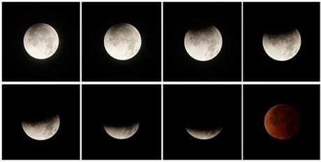 This eight picture combo shows a total lunar eclipse over Panama City, Panama, early Tuesday, April 15, 2014. Tuesday's eclipse is the first of four total lunar eclipses that will take place between 2014 to 2015.
