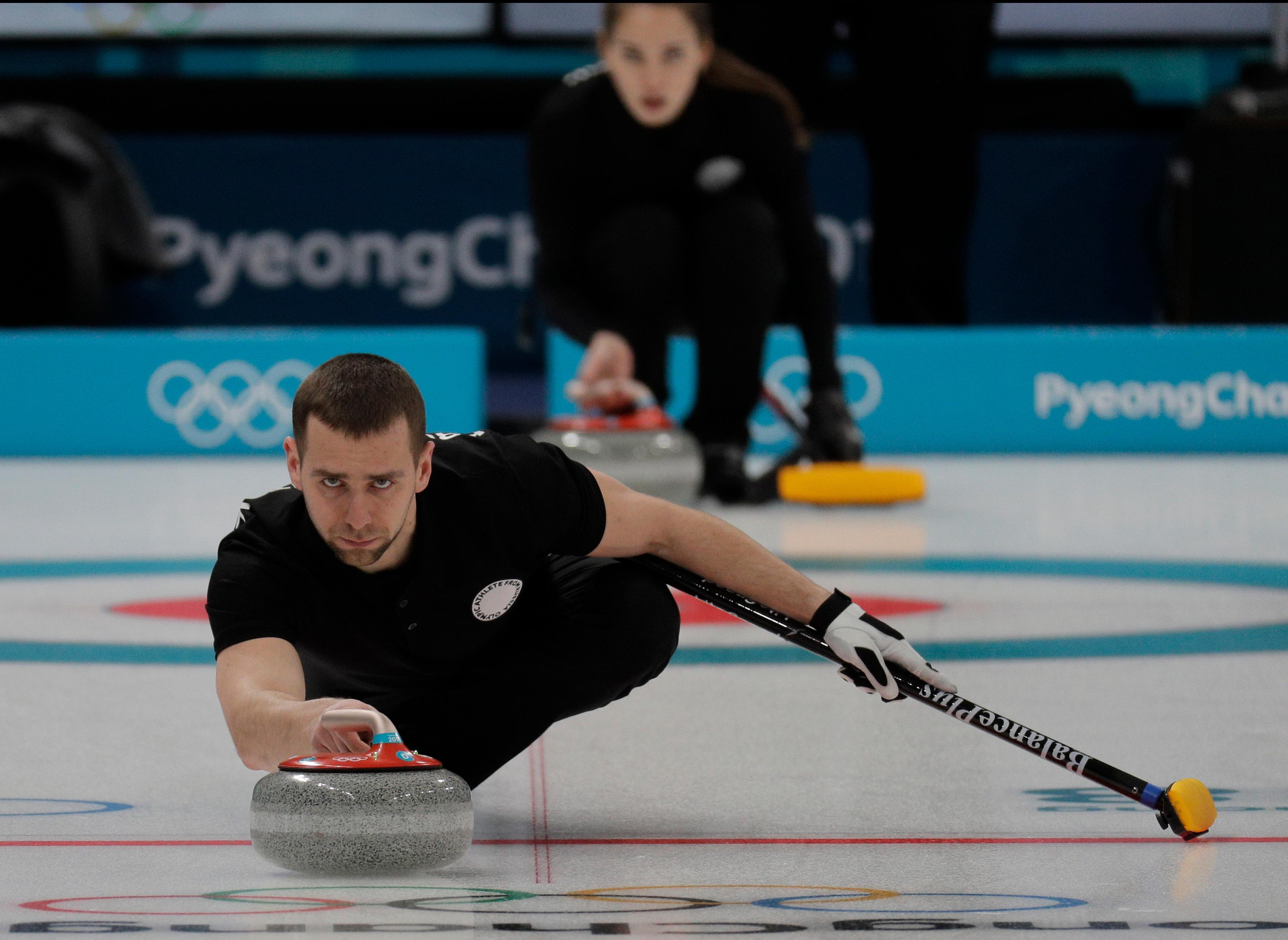 Olympic Athlete from Russia Aleksandr Krushelnitckii plactice ahead of the 2018 Winter Olympics in Gangneung, South Korea, Wednesday, Feb. 7, 2018. (AP Photo/Aaron Favila)