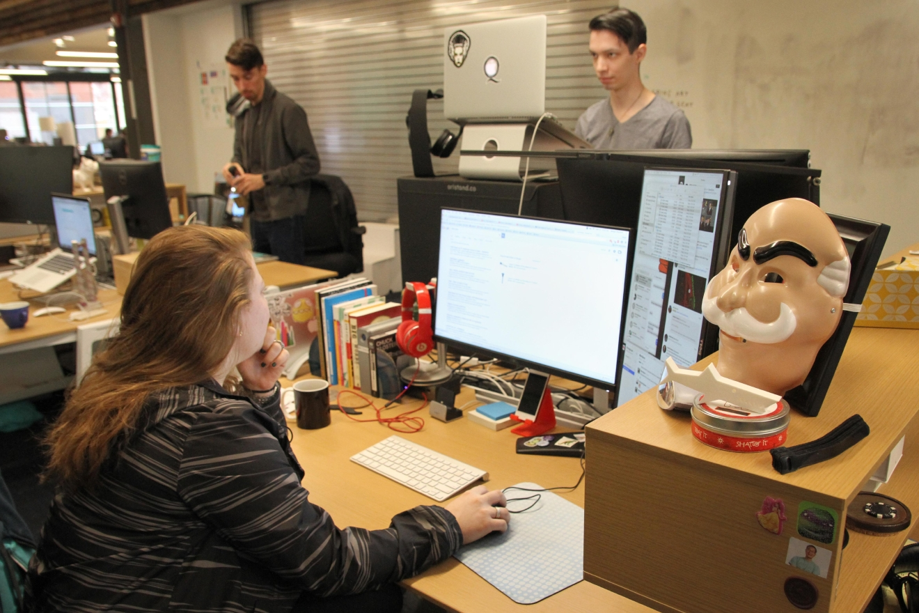 "Props from campaigns produced for clients, like this mask from a campaign for NBC Universal's ""Mr. Robot,"" sometimes show up around the office. (Amanda Andrade-Rhoades/DC Refined)"