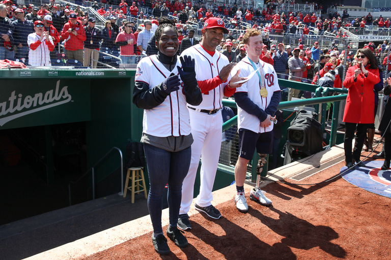 Olympian{ } Maame Biney and paralympic champ{ }Noah Grove were on hand for opening day. (Amanda Andrade-Rhoades/DC Refined)