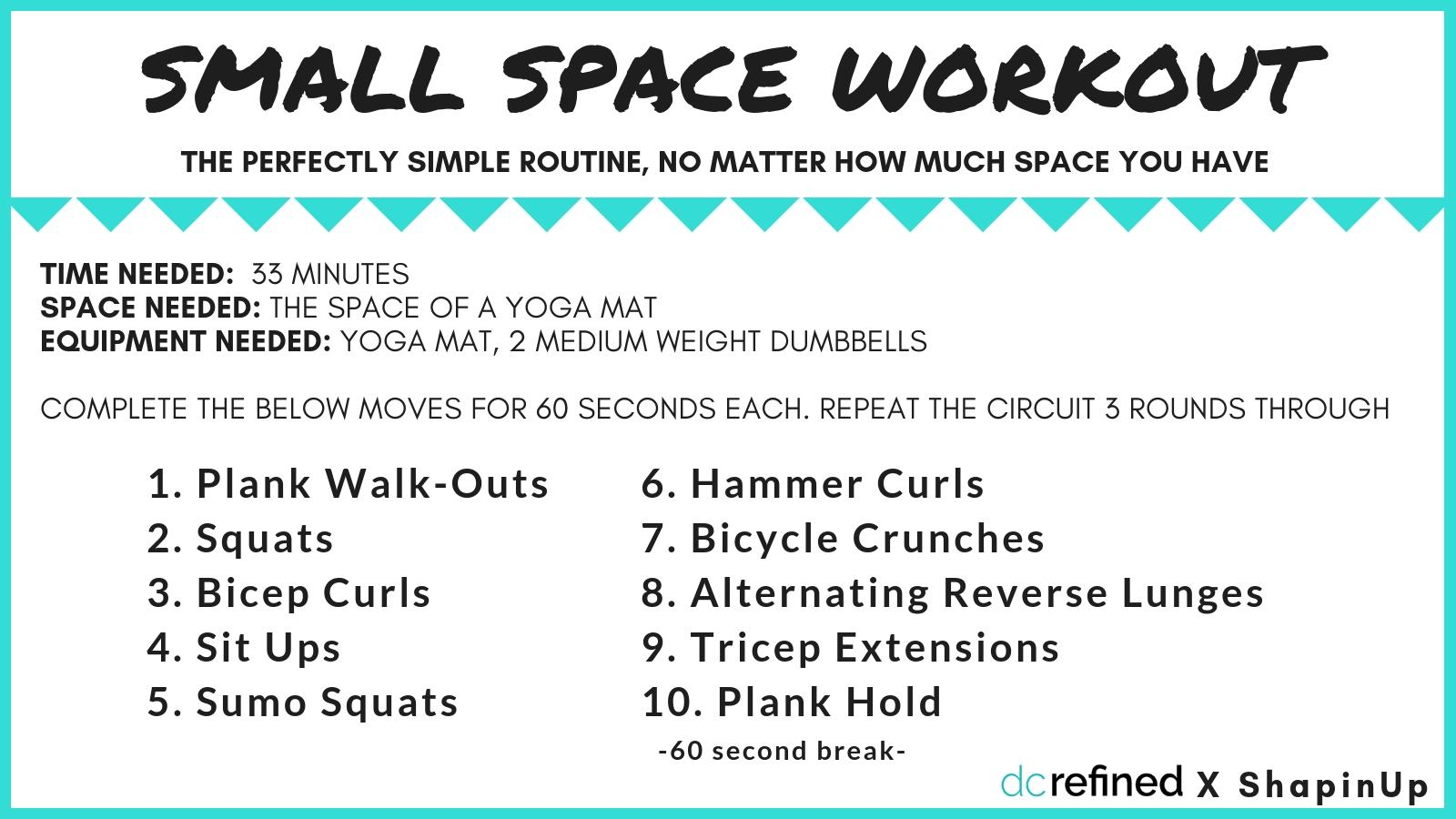 Lack of space doesn't need to be an excuse for a good workout. There are plenty of moves that require barely any space and still result in a quality sweat.{ }(Image: Amanda Shapin)
