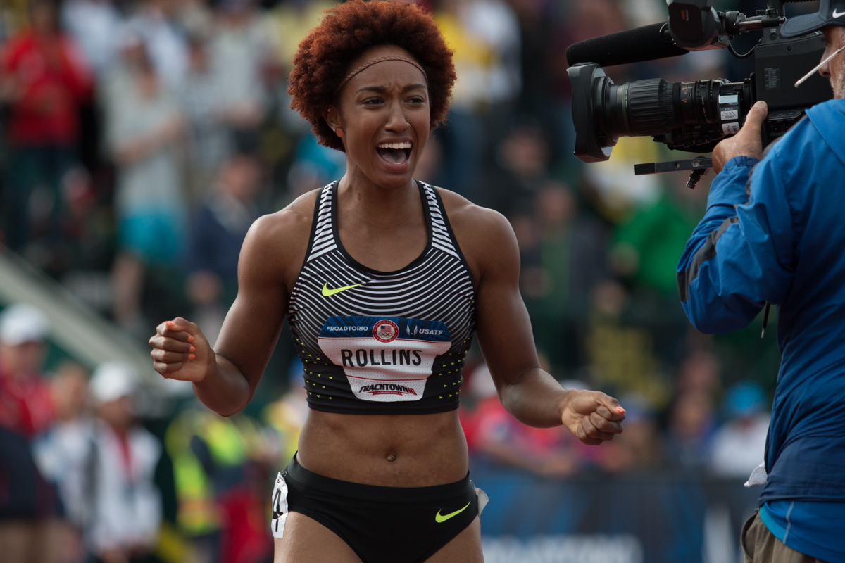 Brianna Rollins celebrates after winning the 100m hurdles in a time of 12.34 seconds. Photo by Dillon Vibes