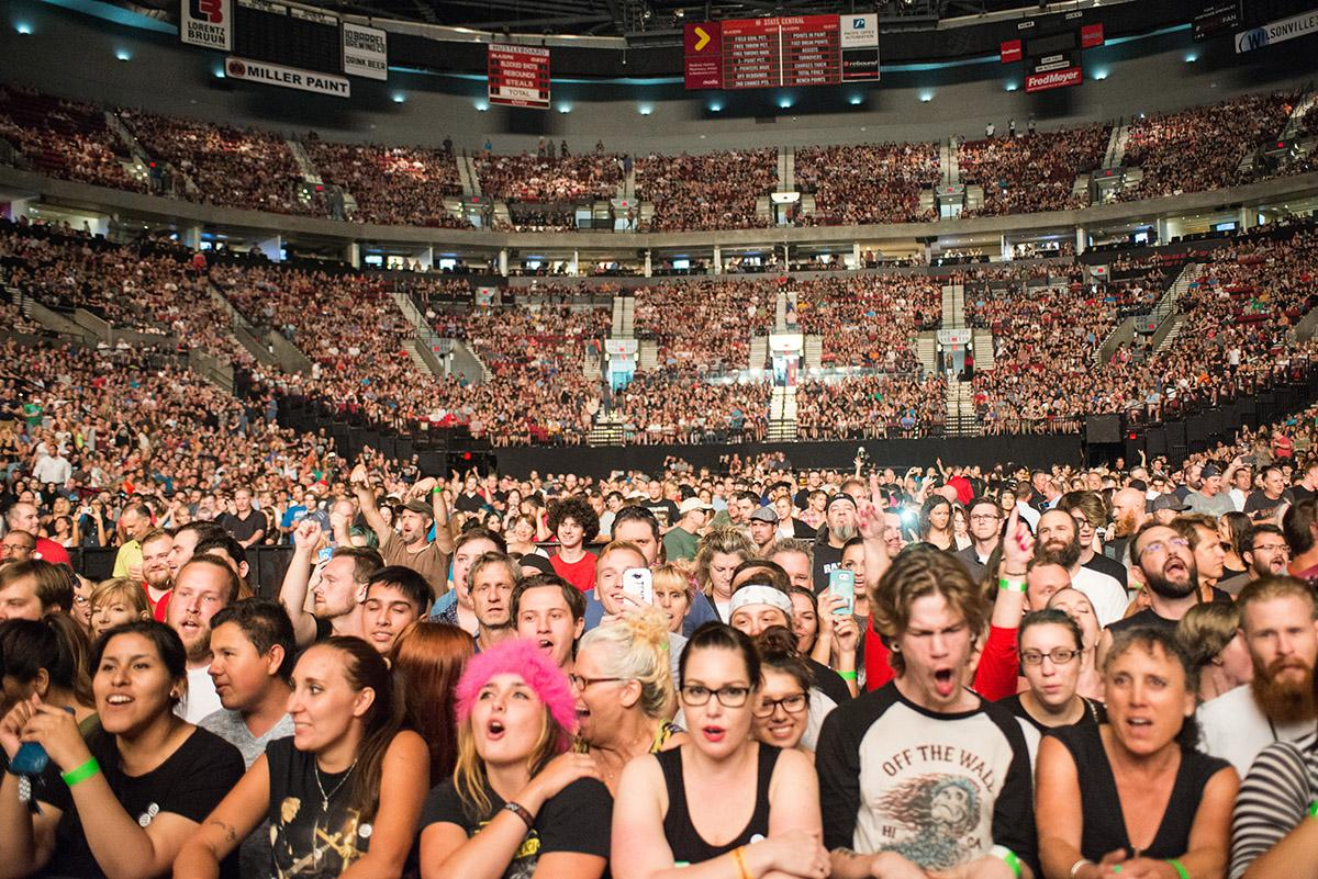 Green Day brought a power-packed performance to the Moda Center Wednesday, playing songs that span their three-decade career. The Portland visit was the second stop on the band's summer tour in support of their 12th studio album, Revolution Radio. (KATU News photo by Tristan Fortsch taken August 2, 2017)