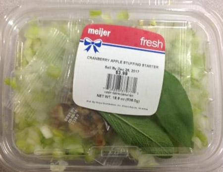 The Apple Cranberry Stuffing Starter was recalled by Meijer.