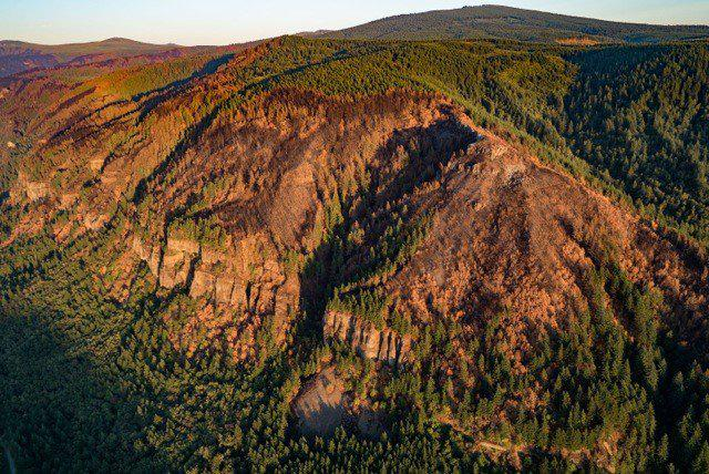 This aerial view shows the damage done to the Columbia River Gorge by the Eagle Creek Fire. (Photo: U.S. Forest Service, Northwest Region)