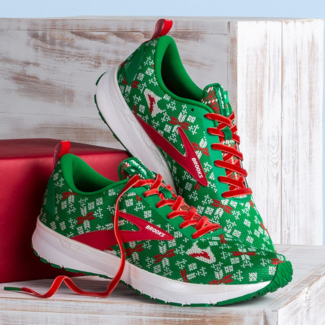 Get into the holiday spirit with these Run Merry Revel 4 shoes, $100, from Seattle based Brooks Running. (Image: Brooks Running)