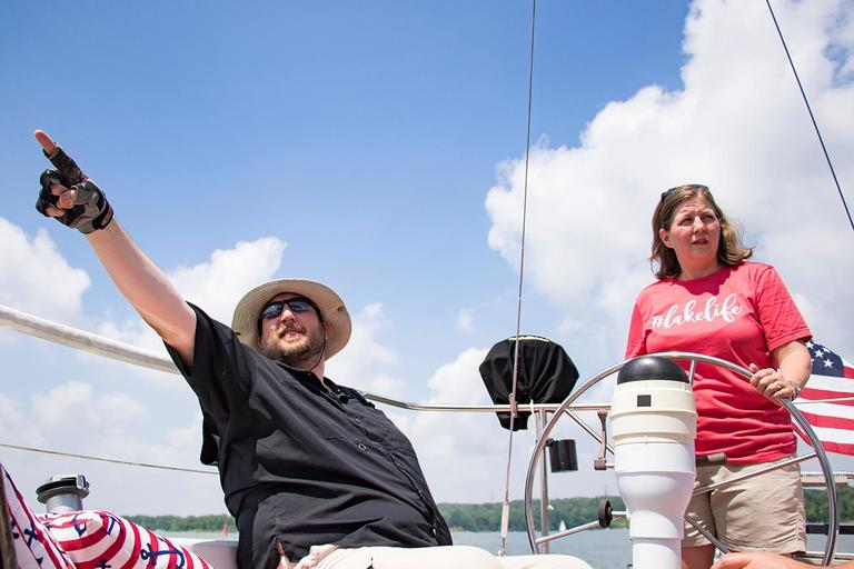 <p>Nicole and Andy Holkamp, members of the Brookville Sailing Association / Image: Allison McAdams // Published: 6.12.18</p>