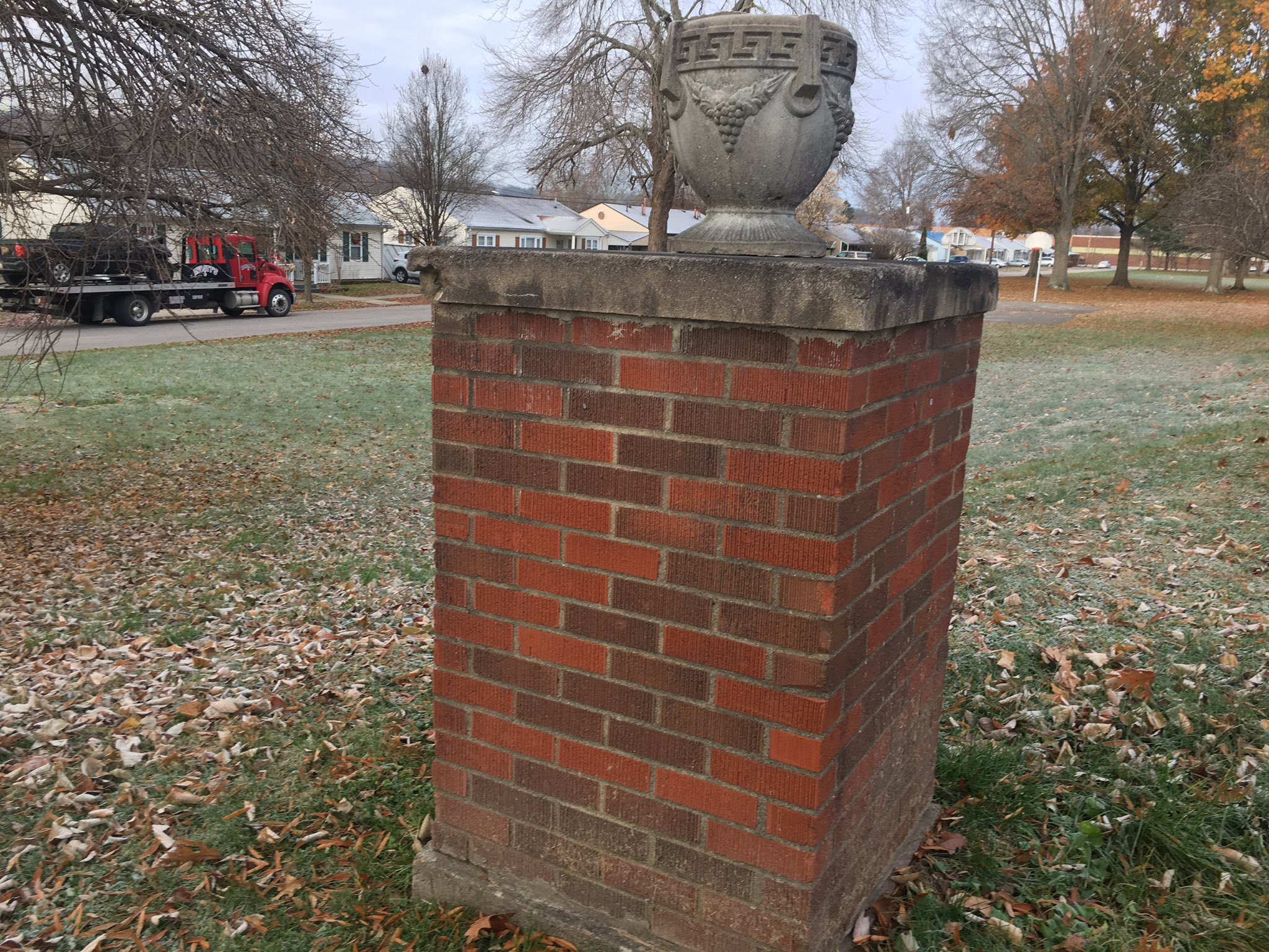 Police said one sustained minor injuries from the crash.{&amp;nbsp;} The decorative wall that was destroyed in the crash was similar to the one pictured. (WCHS/WVAH)<p></p>