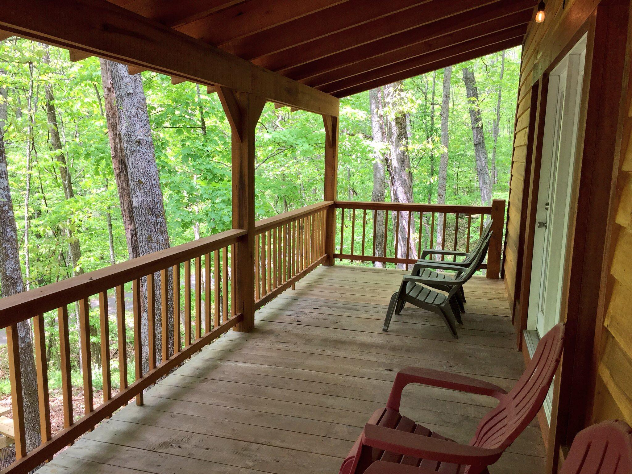 The large deck on cabin #3 features a great view of the Greenbrier River. (WCHS/WVAH)