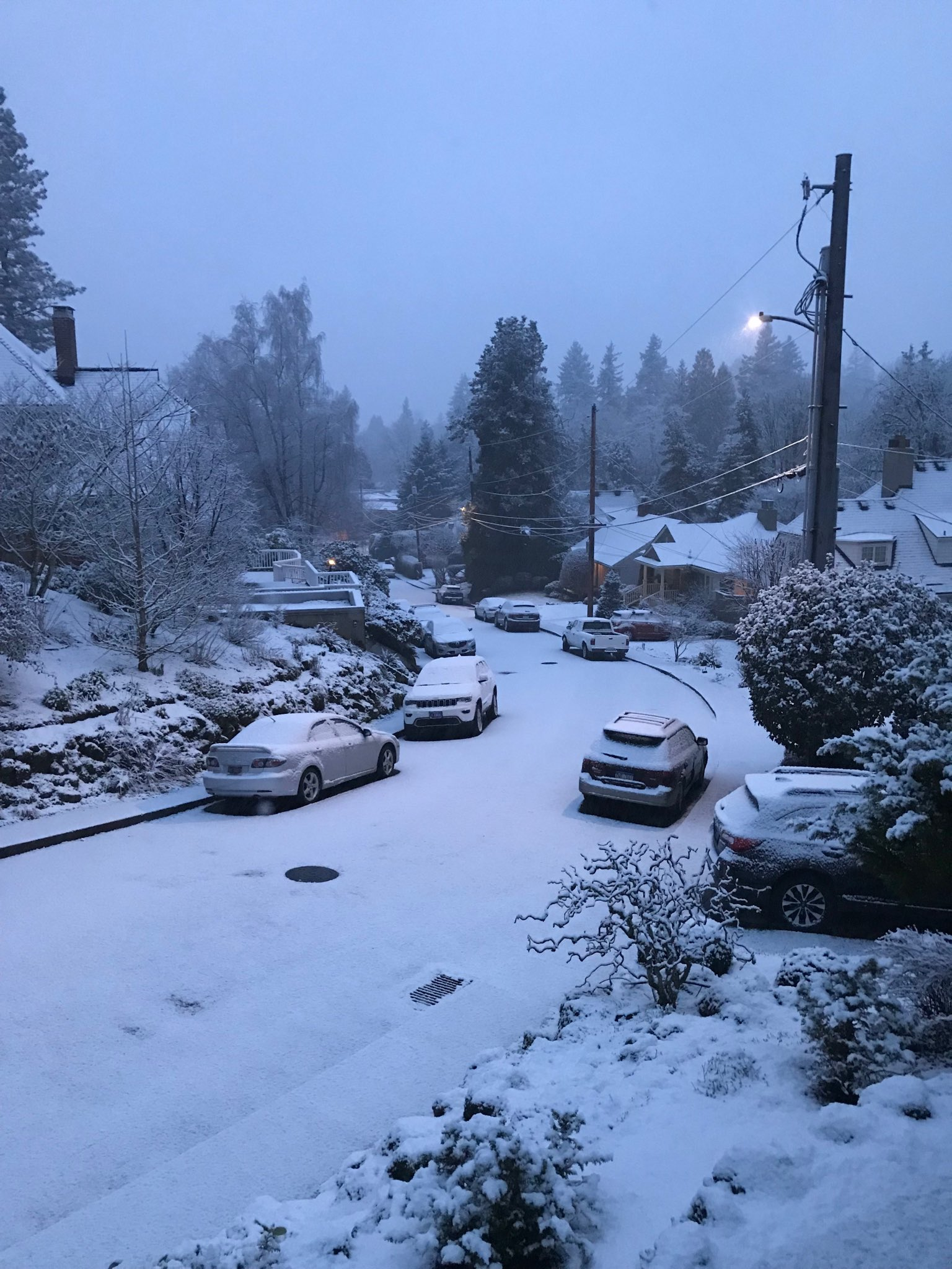 'We have snow coming down in Portland Heights' - Photo from Britney<p></p>