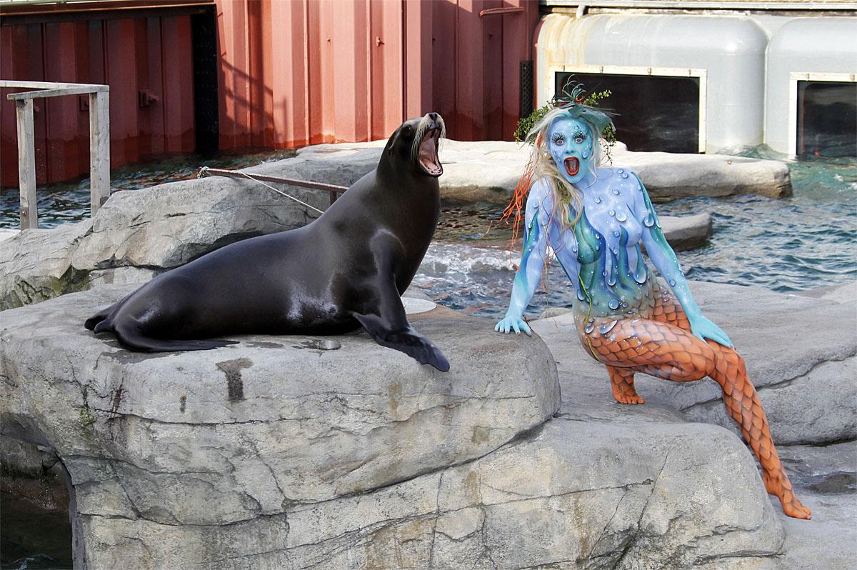 Color Bodies, consisting of painting assistant Maria Skupin, body painter's Jörg Düsterwald and Enrico Lein and photographer Tschiponnique Supin, have released images from their 2019 calendarFeaturing: Mermaid with Sea LionWhere: Hannover, Niedersachsen, GermanyWhen: 01 Nov 2018Credit: Tschiponnique Skupin/Future Image/WENN.com**Not available for publication in Germany**