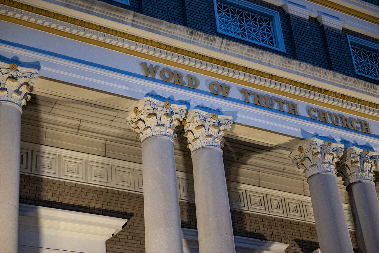 World of Truth Church is recognizable due to its beautiful Corinthian columns. / Image: Joe Simon // Published: 4.22.20