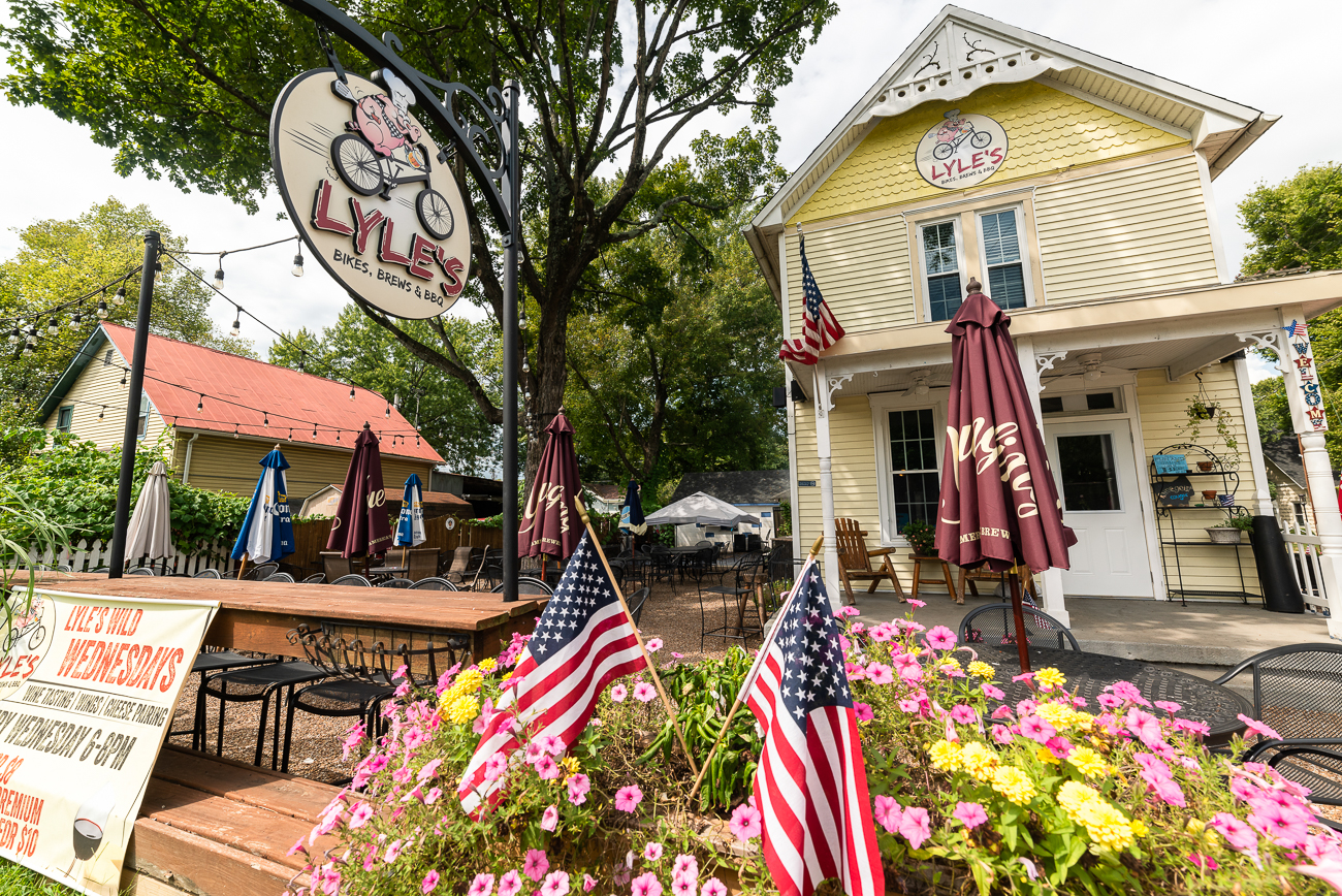 Work up an appetite?  Swing by Lyle's, a popular stop for travelers on the Little Miami bike path.  Lyle's has tons of outdoor seating, good beers, and good barbecue. ADDRESS: 123 Railroad Ave (45240) / Image: Allen Meyer // Published: 9.7.18