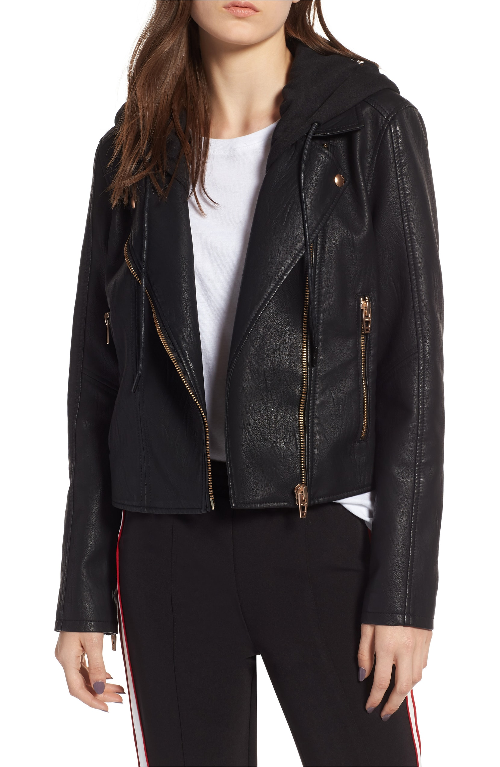 Meant to Be Moto Jacket with Removable Hood. Sale: $64.90 / After Sale: $98.00. (Image: Nordstrom){ }