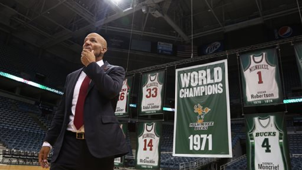Newly named Milwaukee Bucks head NBA basketball coach Jason Kidd walks on the court after a press conference Wednesday, July 2, 2014., in Milwaukee (AP Photo/Jeffrey Phelps)