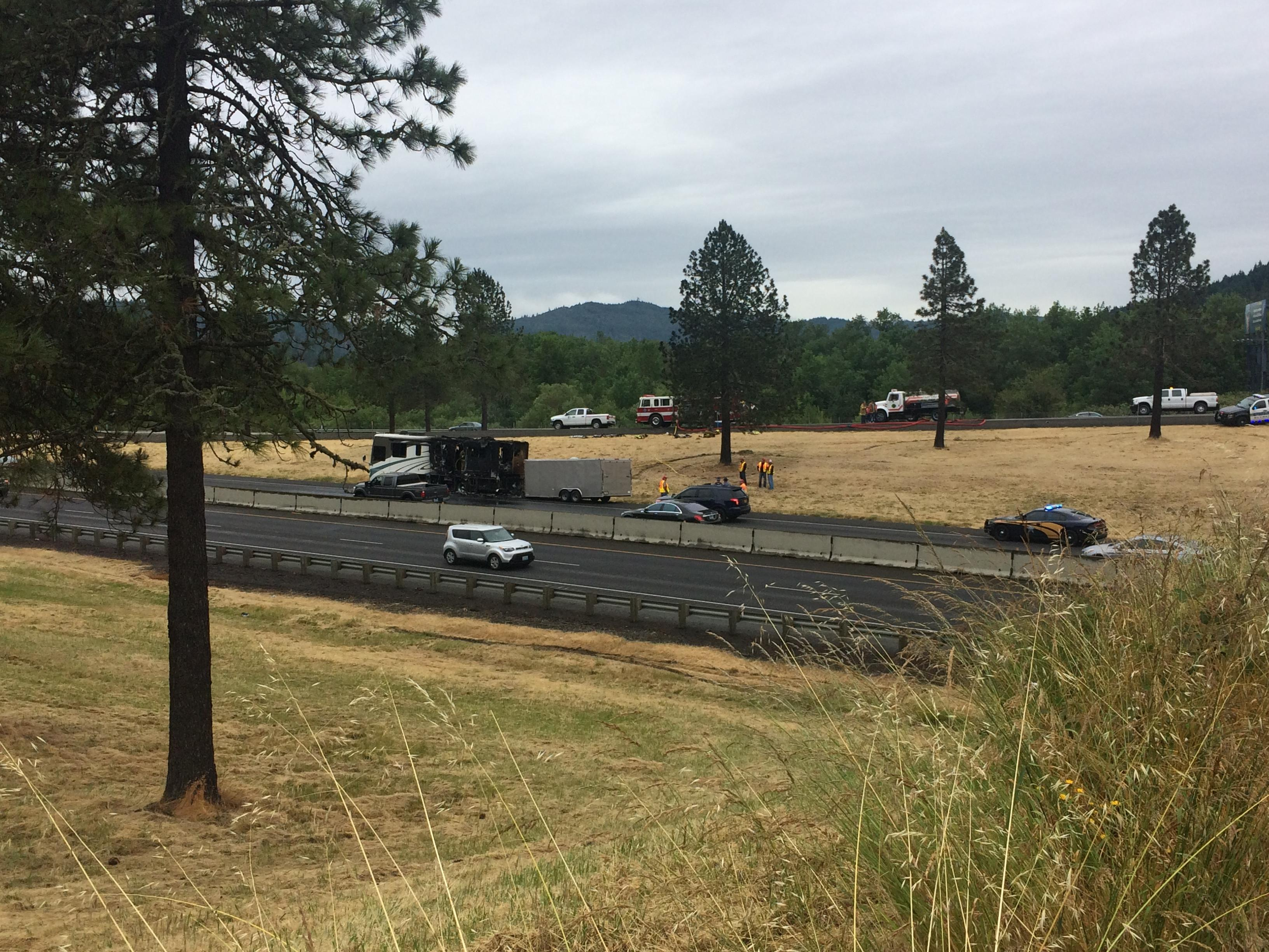 An RV caught fire on Interstate 5 northbound Thursday morning, causing traffic to back up for miles.  A couple and several cats and dogs were in the RV at the time. They escaped injury, Oregon State Police said. (SBG)