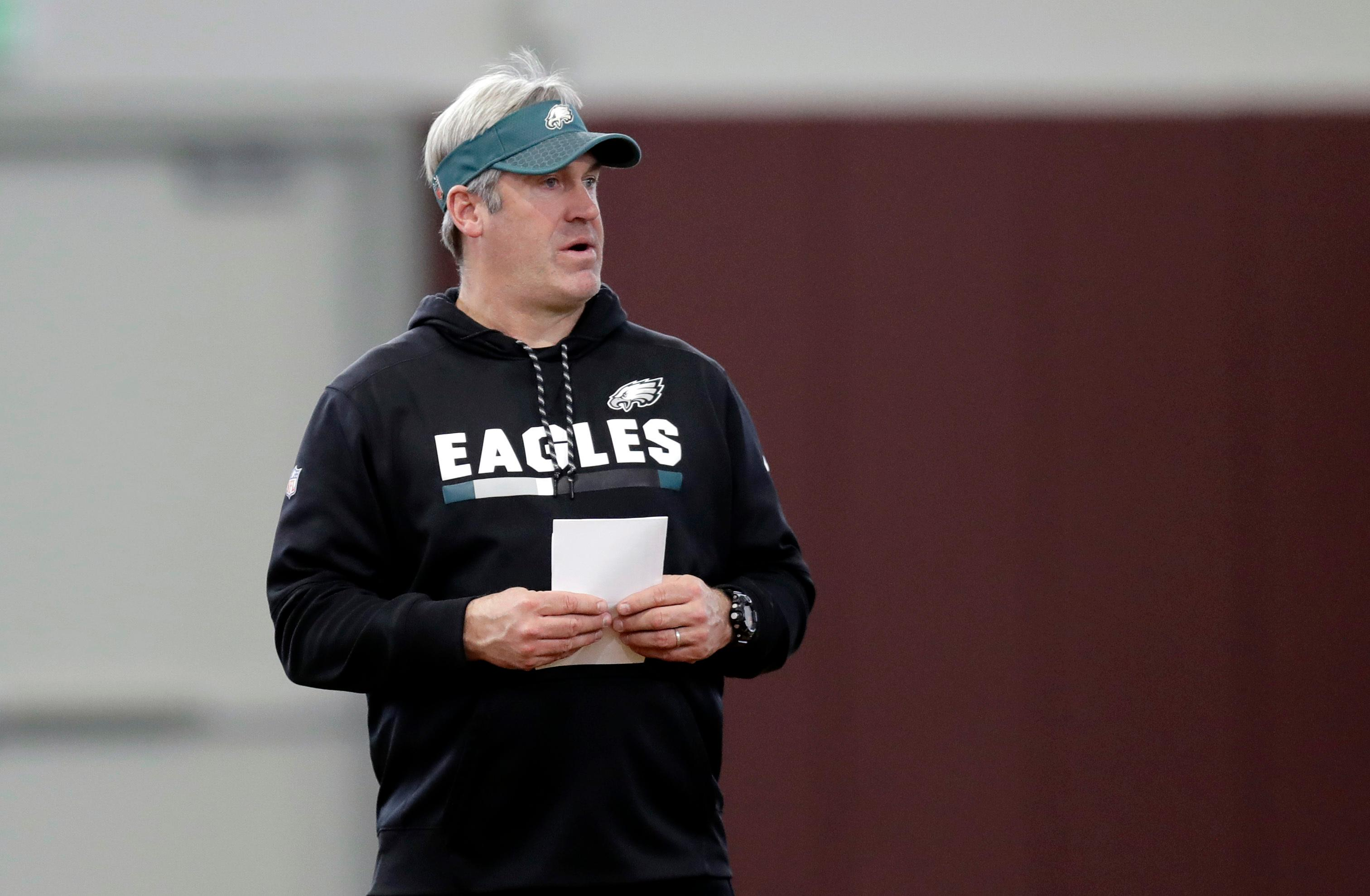 Philadelphia Eagles head coach Doug Pederson watches the team's practice for the NFL Super Bowl 52 football game Friday, Feb. 2, 2018, in Minneapolis. Philadelphia is scheduled to face the New England Patriots Sunday. (AP Photo/Eric Gay)