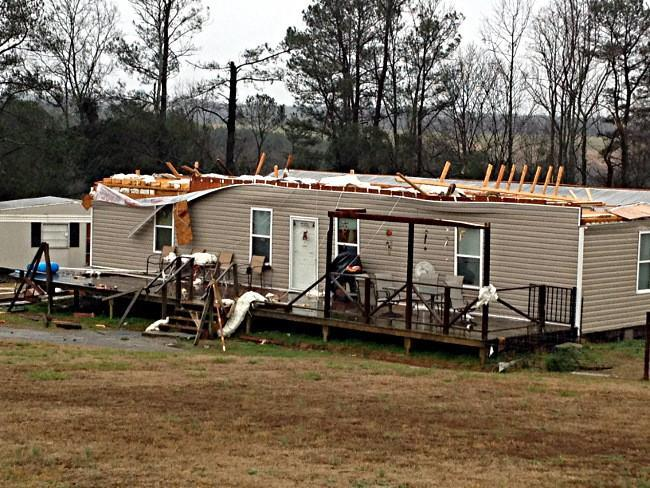High winds ripped the roof off this home in Winston County.