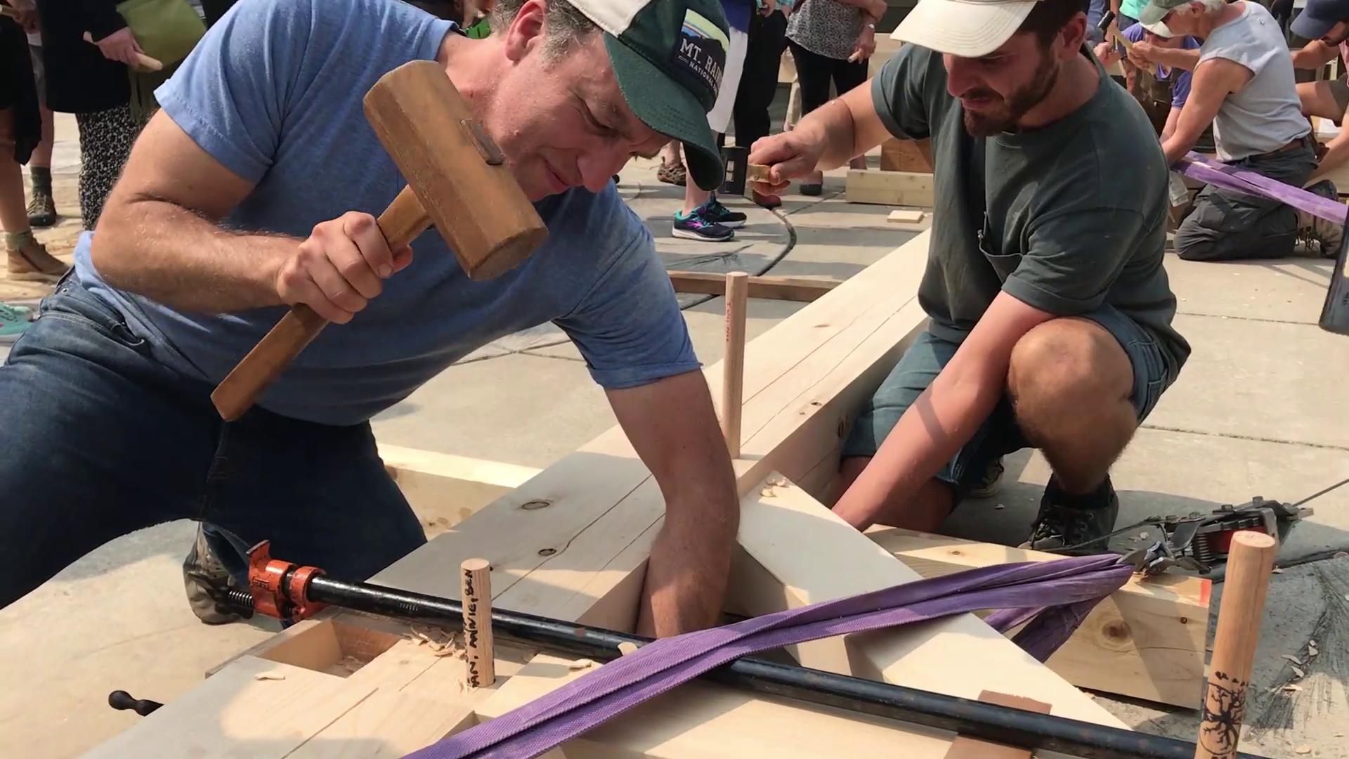Assembling the sukkah. Video by Jamie Lusch / Daily TidingsThumbnail