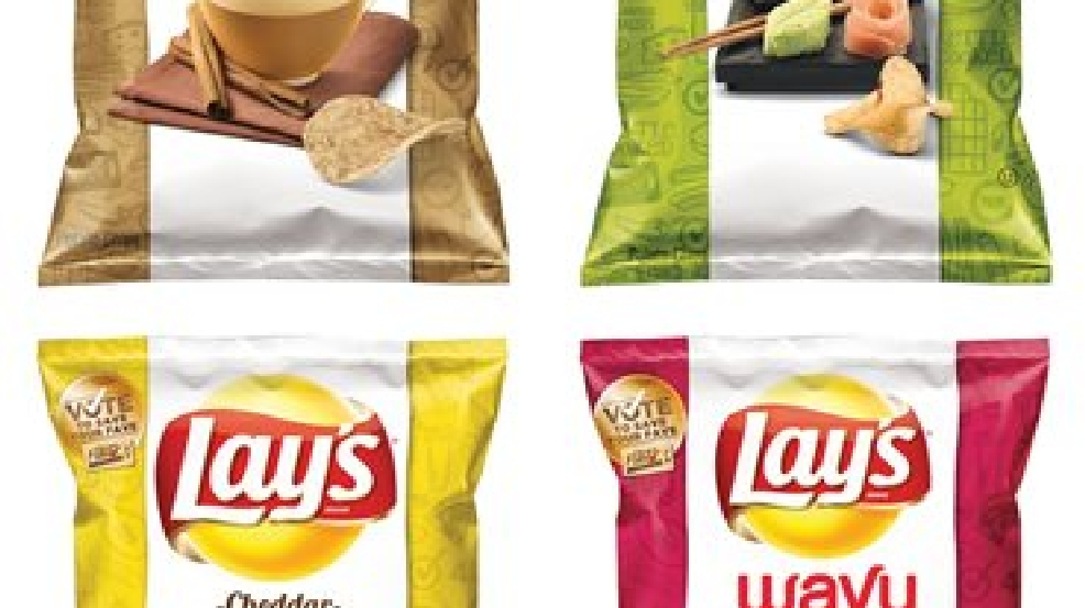 "This combination made from images provided by Frito-Lay shows the four finalists for its second annual ""Do Us a Flavor"" contest in the U.S., which gives people a chance to create a new potato chip that is sold nationally and win $1 million. The finalists, which will be announced Wednesday, July 16, 2014, are Cappuccino, Wasabi Ginger, Bacon Mac & Cheese, and Mango Salsa. (AP Photo/Frito-Lay)"