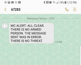 <p>Montgomery College sent out the alert in error at 1:03 p.m. before issuing a correction several minutes later at 1:10 p.m. (Sent by viewer)</p>