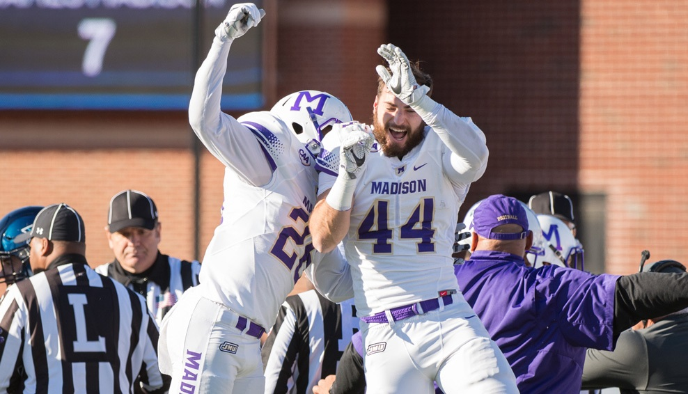 JMU 20, VILLANOVA 7: The sixth-ranked Dukes (9-1) won the battle of turnovers, forcing four to clinch their second consecutive CAA Football championship. Khalid Abdullah ran for 120 yards and scored 2 TDs and Tyler Gray added 2 field goals as the CAA's top offense bested the CAA's top defense in No. 9 Villanova (7-3). (Photo courtesy JMU Athletics)