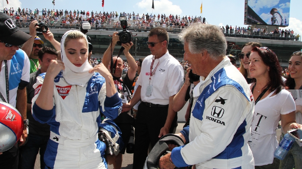 Lady Gaga lays down her latest track at Indy speedway