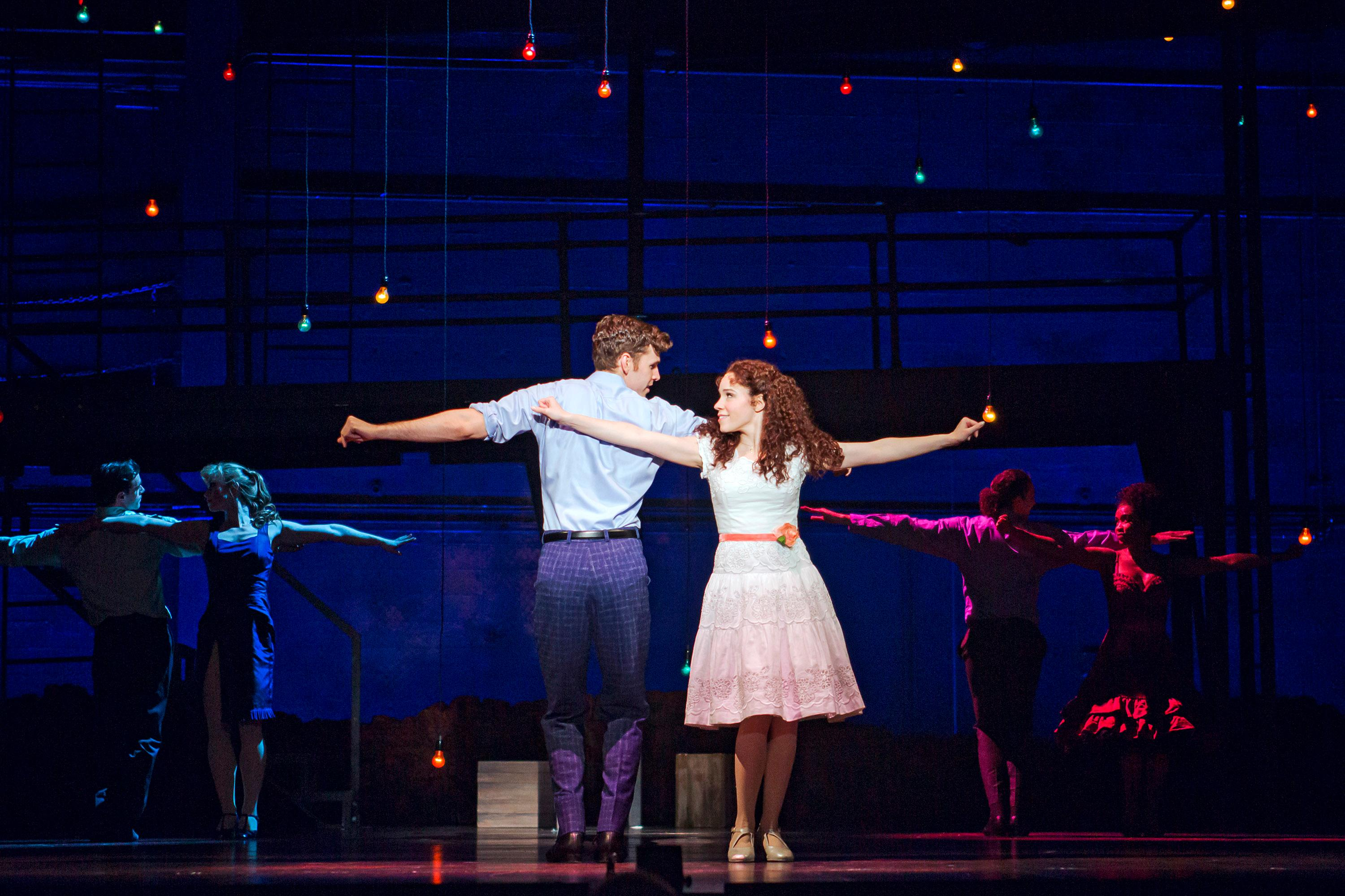 William Branner as Tony and Rebbekah Vega-Romero as Maria in West Side Story at The 5th Avenue Theatre (Photo Credit Tracy Martin)
