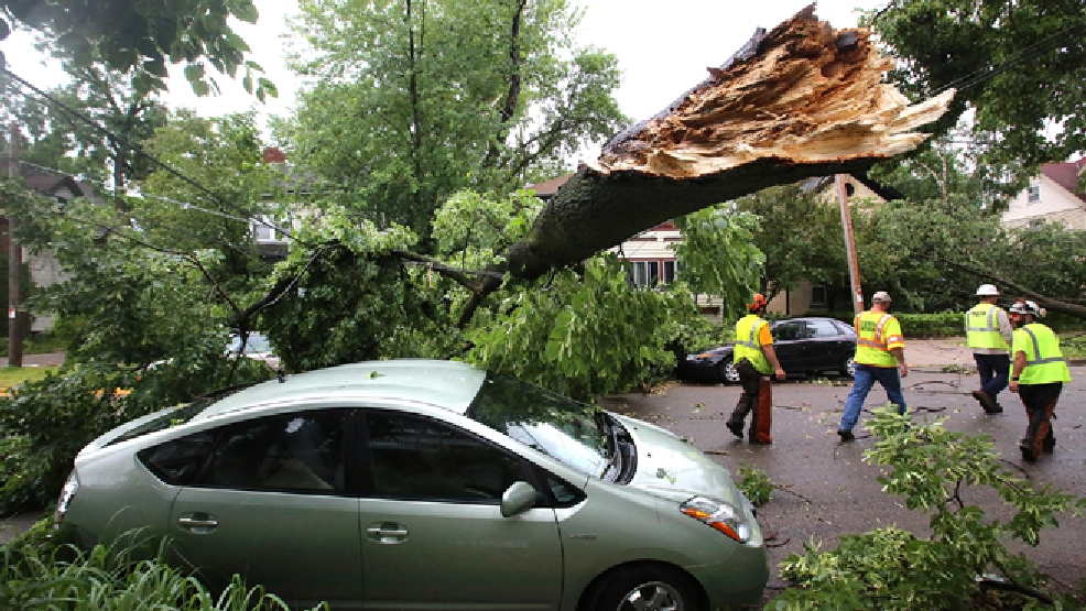 City of Madison Street Department crews inspect damage along Rutledge Street after an overnight storm toppled trees and damaged properties on the Near East Side of Madison, Wis. Tuesday, June 17, 2014. Officials have declared a state of emergency in Dane County in order to make storm damage recovery assistance available to residents who need it. (AP Photo/Wisconsin State Journal, John Hart)