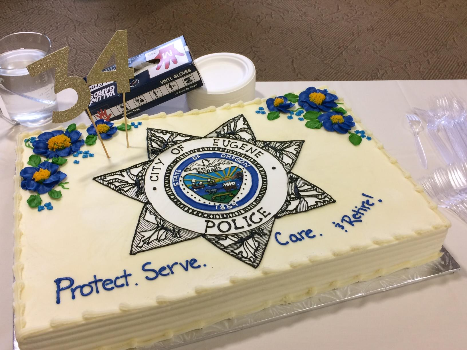 Friends and colleagues celebrate long-time police chief Pete Kerns at retirement party